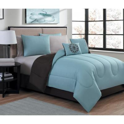 Medallion 9-Piece Blue/Brown Queen Bed in a Bag Set