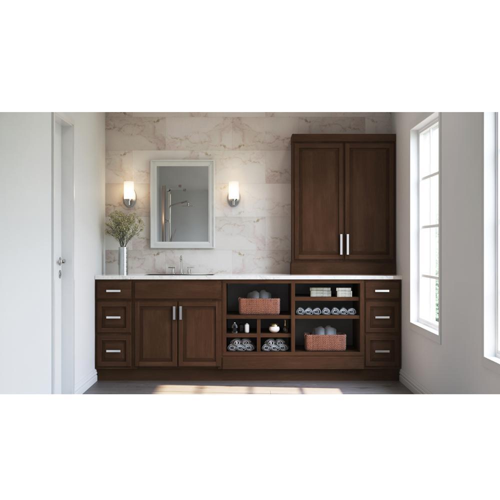 Hampton Bay Hampton Assembled 30 X 34 5 X 21 In Bathroom Vanity Base Cabinet In Cognac Kvsb30 Cog The Home Depot