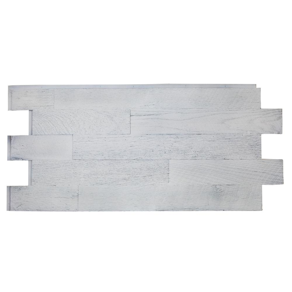 Superior Building Supplies Faux Barnwood Panel 1.25 in. x 52.25 in. x 23 in. Country Cottage White Polyurethane Interlocking Panel Superior's 51-1/4 in. x 24 in. Faux Barnwood Panel (Country Cottage White) is a perfect fit. Install with screws and adhesive, they are lightweight because they are made of high-density polyurethane, which makes them virtually maintenance free. No insect pests or rotting to worry about. Provides years of lasting beauty because they are UV protected.