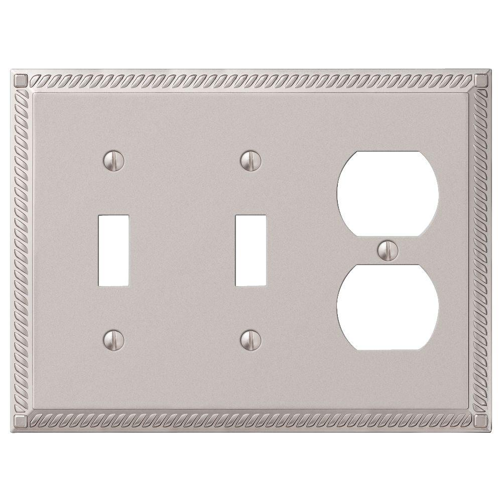 Georgian 2-Toggle 1 Duplex Wall Plate - Nickel
