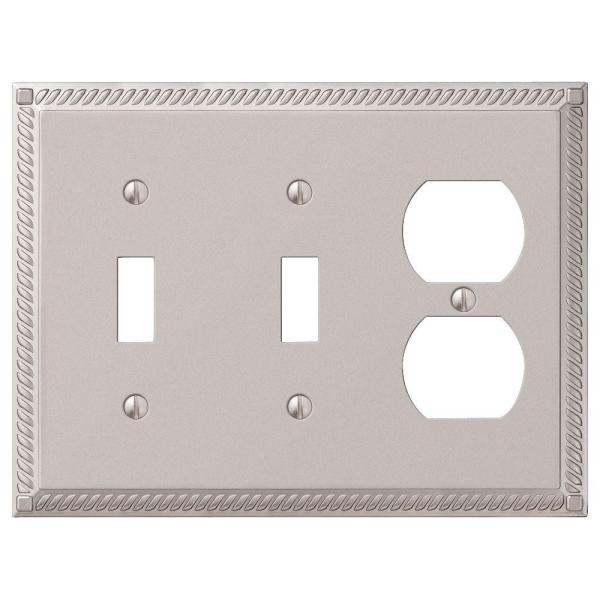 Georgian 3 Gang 2-Toggle and 1-Duplex Metal Wall Plate - Satin Nickel