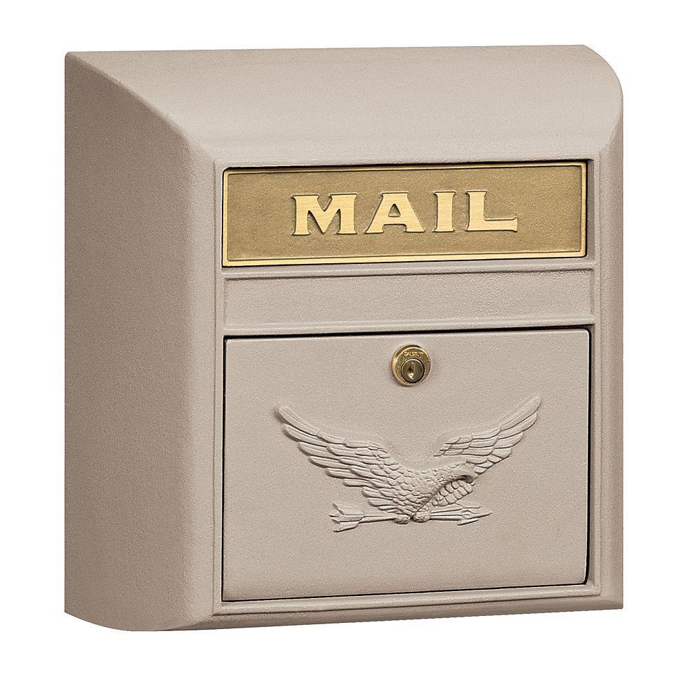 4100 Series 14.5 in. W x 14.5 in. H x 6 in. D Beige Eagle Door Modern Mailbox