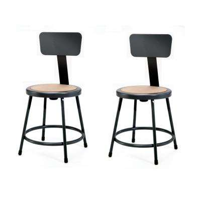NPS 18 in. Black Heavy-Duty Steel Stool with Backrest (2-Pack)
