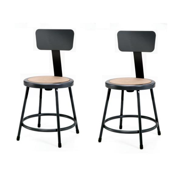 National Public Seating NPS 18 in. Black Heavy-Duty Steel Stool with