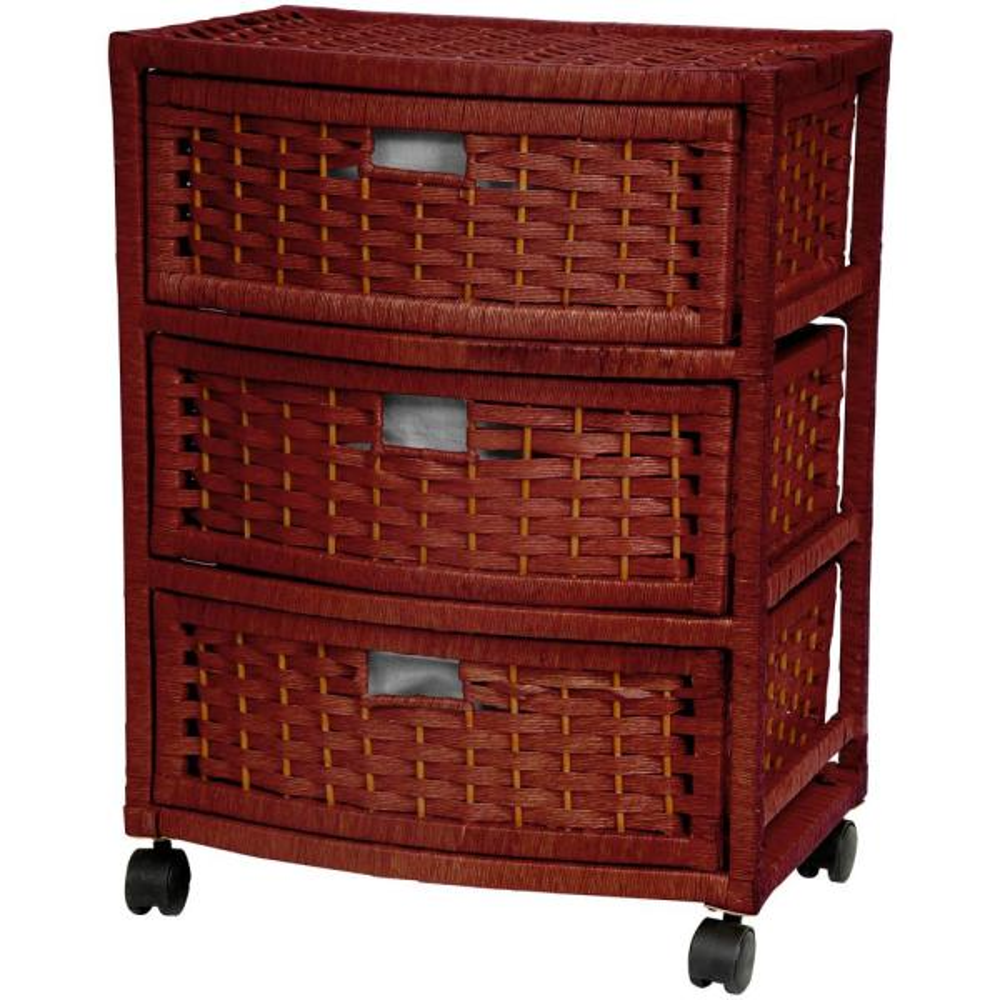 Oriental Furniture 3-Drawer Mahogany Natural Fiber Trunk JH09-051-3-MHGNY