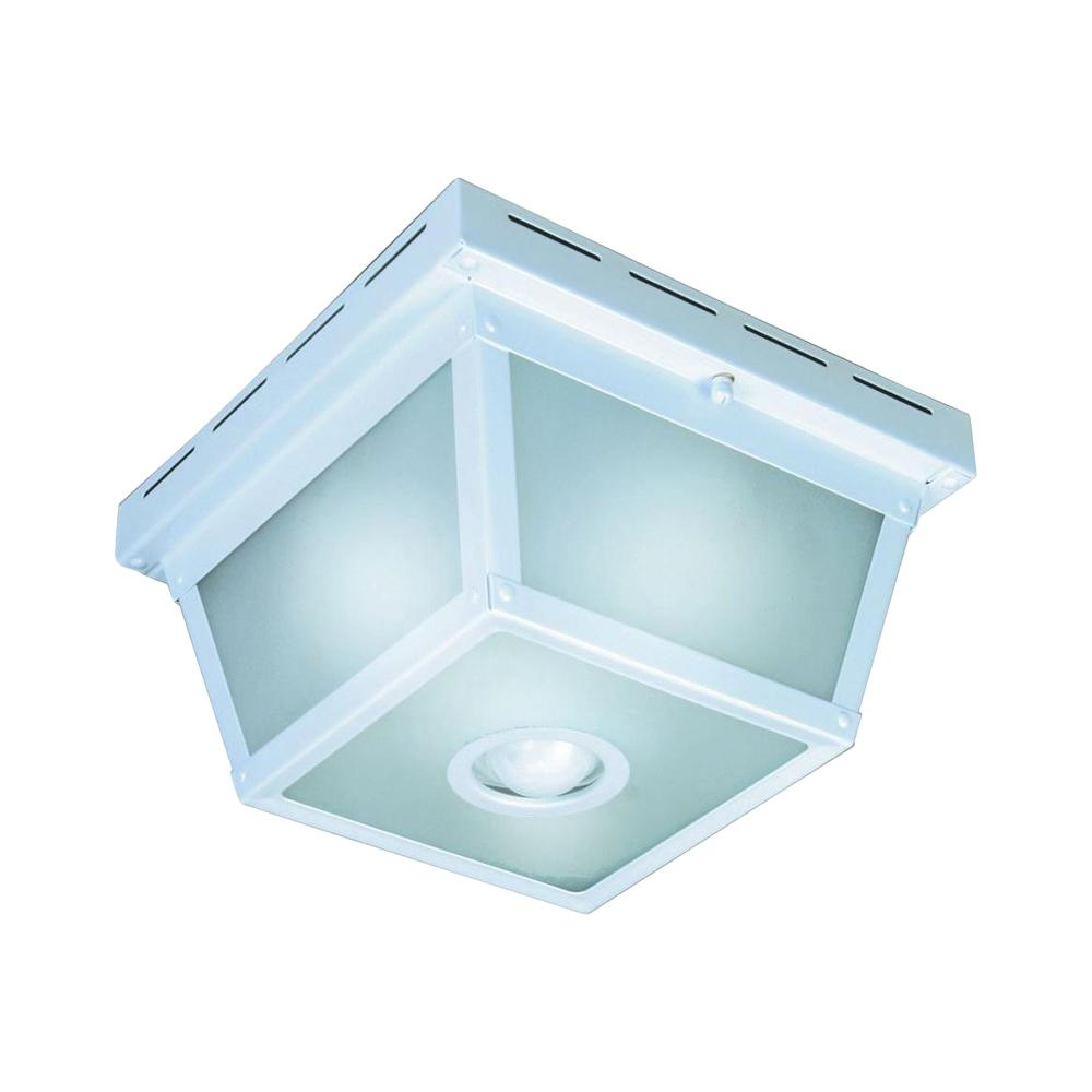Hampton bay 360 square 4 light white motion sensing outdoor flush mount