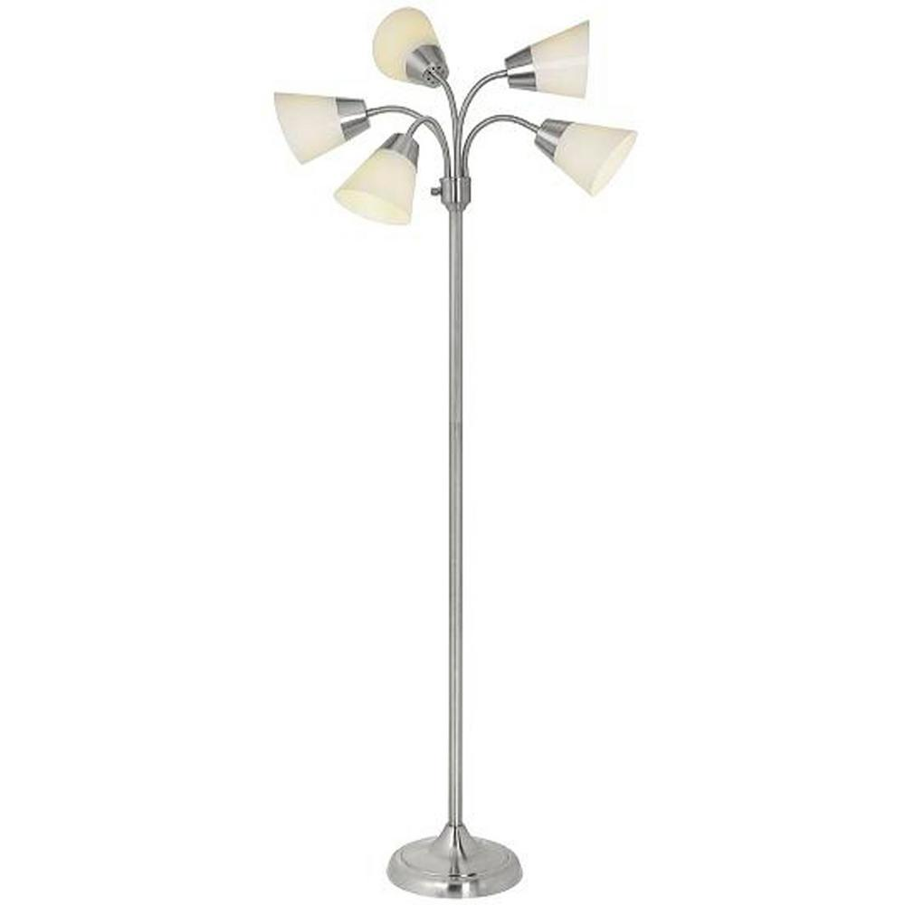 Hampton Bay 66 in. Satin Nickel 5-Arm Floor Lamp