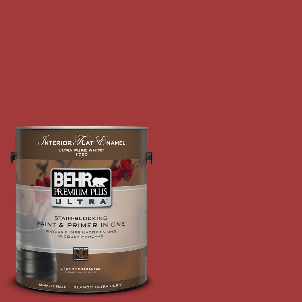 BEHR Premium Plus Ultra 1-gal. #UL110-16 Bijou Red Interior Flat Enamel Paint