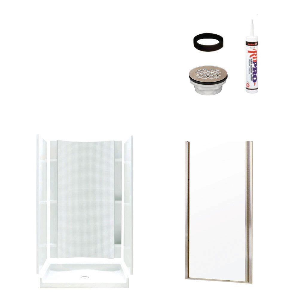 STERLING Accord 36 in. x 42 in. x 77 in. Shower Kit with Shower Door in White/Nickel-DISCONTINUED