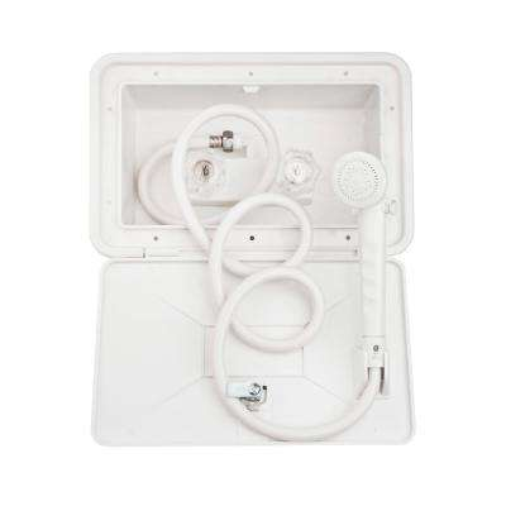 2-Handle RV Exterior Shower Box Kit in White