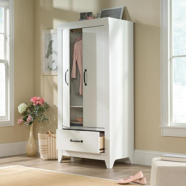 Soft White Wardrobe Storage Cabinet