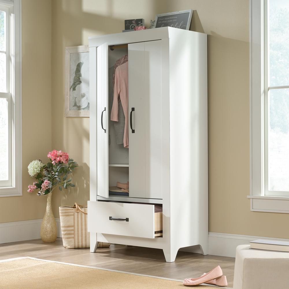 Sauder Adept Soft White Wardrobe Storage Cabinet 424199 The Home