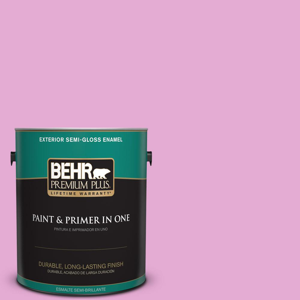 BEHR Premium Plus 1-gal. #680A-3 Pink Bliss Semi-Gloss Enamel Exterior Paint
