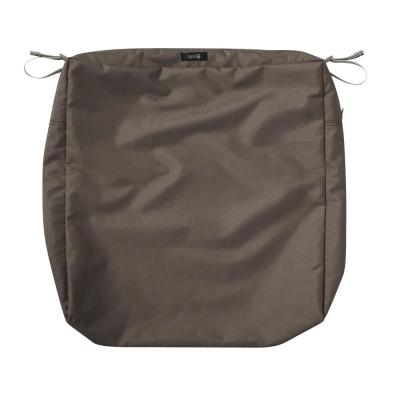 Ravenna Water-Resistant 21 in. x 19 in. x 5 in. Patio Seat Cushion Slip Cover, Dark Taupe