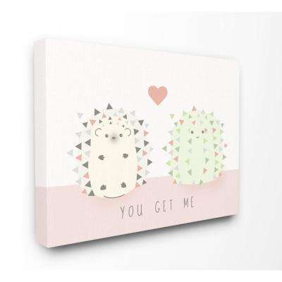 "24 in. x 30 in. ""You Get Me Hedgehog And Cactus Cute Cartoon"" by Daphne Polselli Canvas Wall Art"