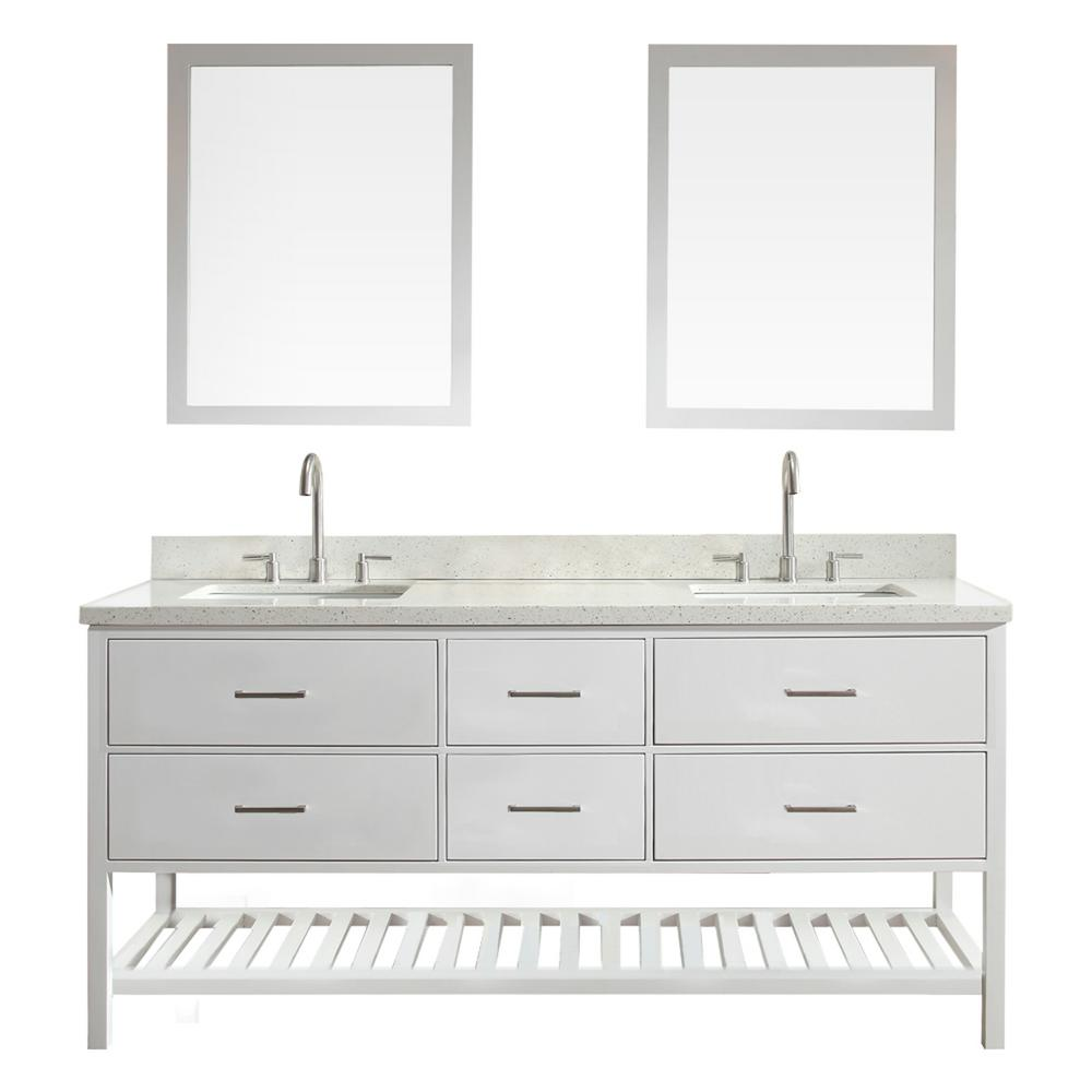 Bath Vanity In White With Quartz Vanity Top