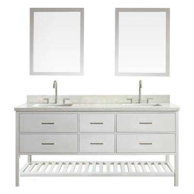 vanity in white with quartz vanity top in white with white basins