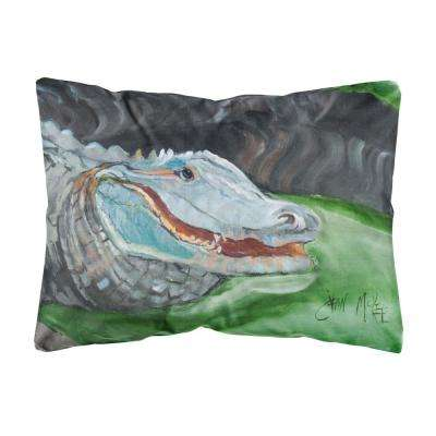 12 in. x 16 in. Multi Color Lumbar Outdoor Throw Pillow Blue Alligator