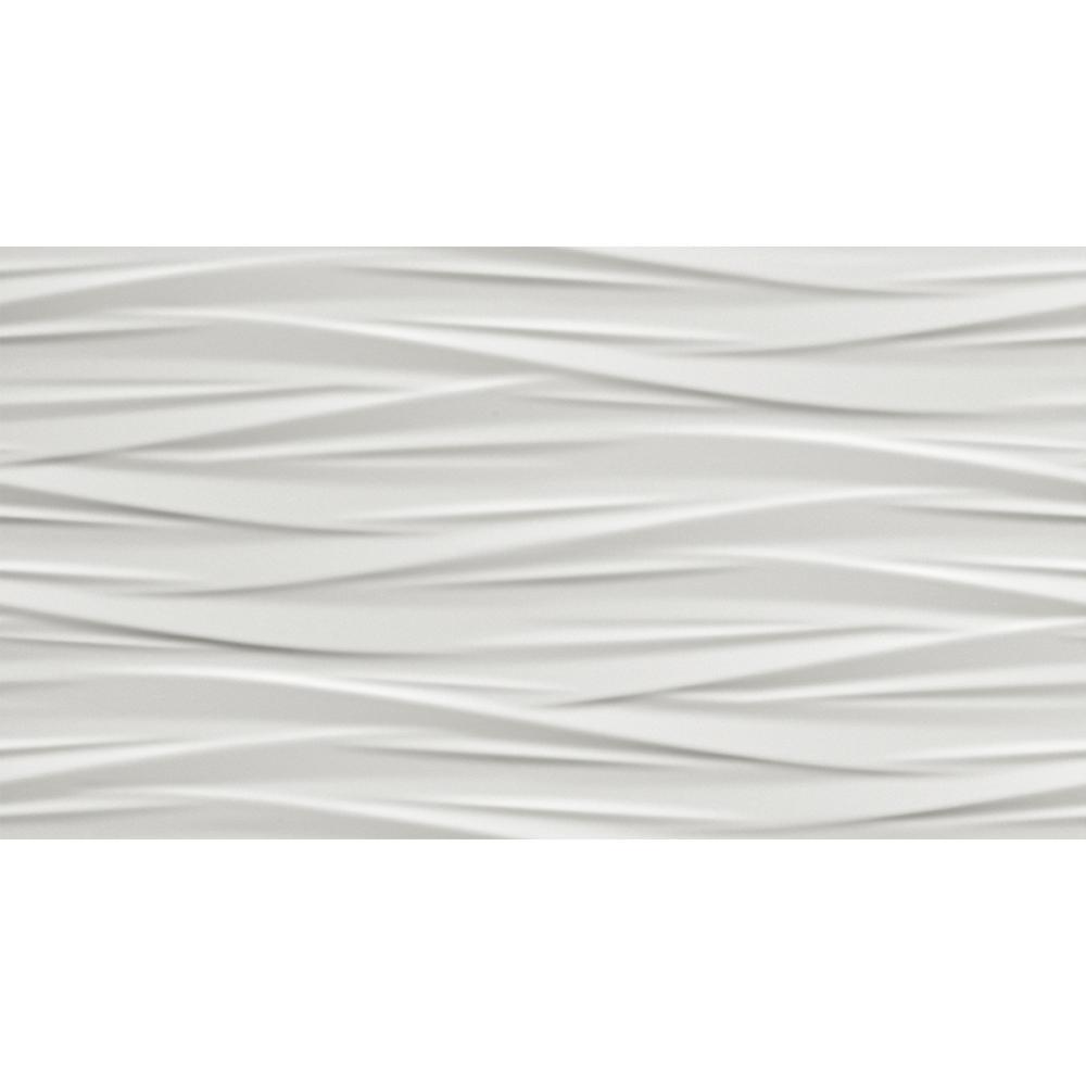 Nuvola White 3D 12 in. x 22 in. Ceramic Wall Tile