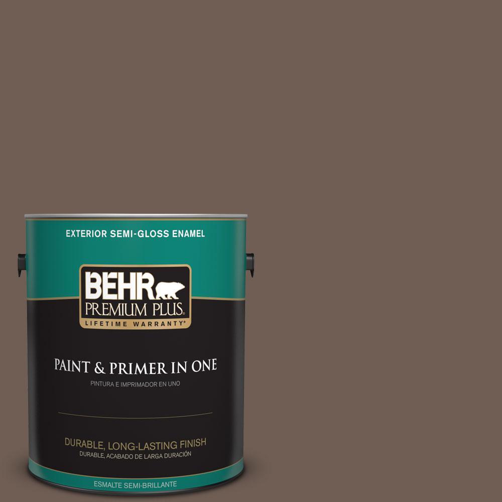 1-gal. #N210-6 Swiss Brown Semi-Gloss Enamel Exterior Paint