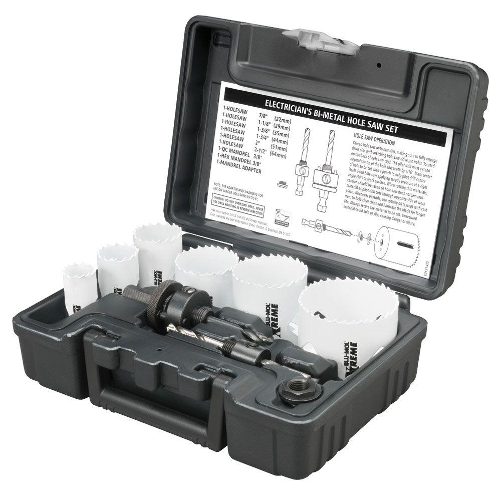 Electrician's Xtreme Bi-Metal Hole Saw Kit (9-Piece)