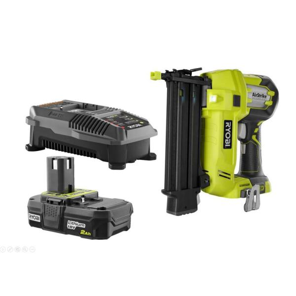 18-Volt ONE+ Lithium-Ion Cordless AirStrike 18-Gauge Brad Nailer Kit with Sample Nails