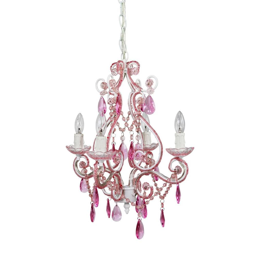 Tadpoles 4 light pink mini chandelier cchapl404 the home depot tadpoles 4 light pink mini chandelier arubaitofo Gallery