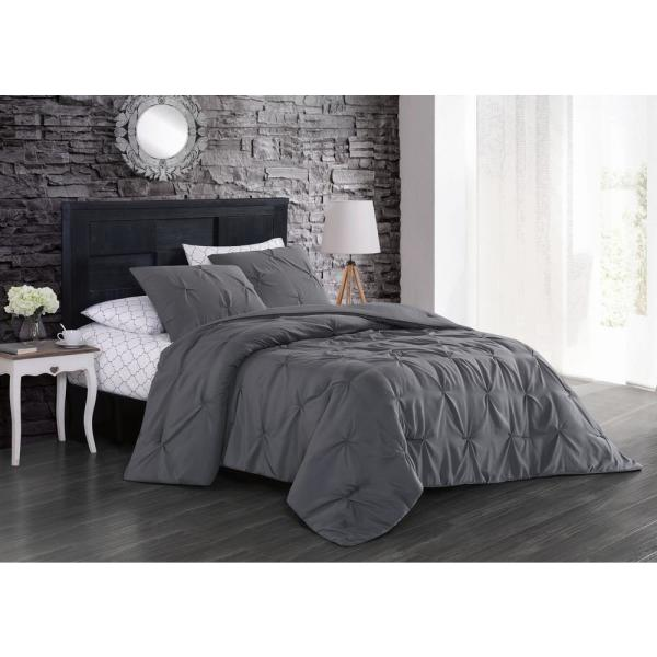 Geneva Home Fashion Flynn 7-Piece Gray Queen Bed in a Bag