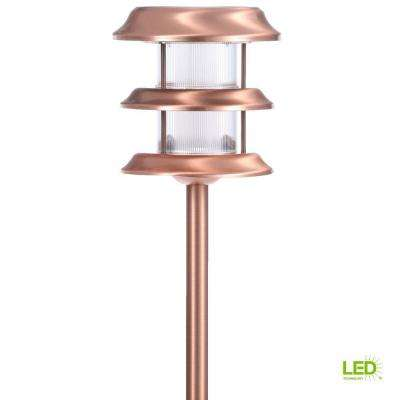 Solar Copper Outdoor Integrated Led Ground Stake Landscape Path Light 6 Pack
