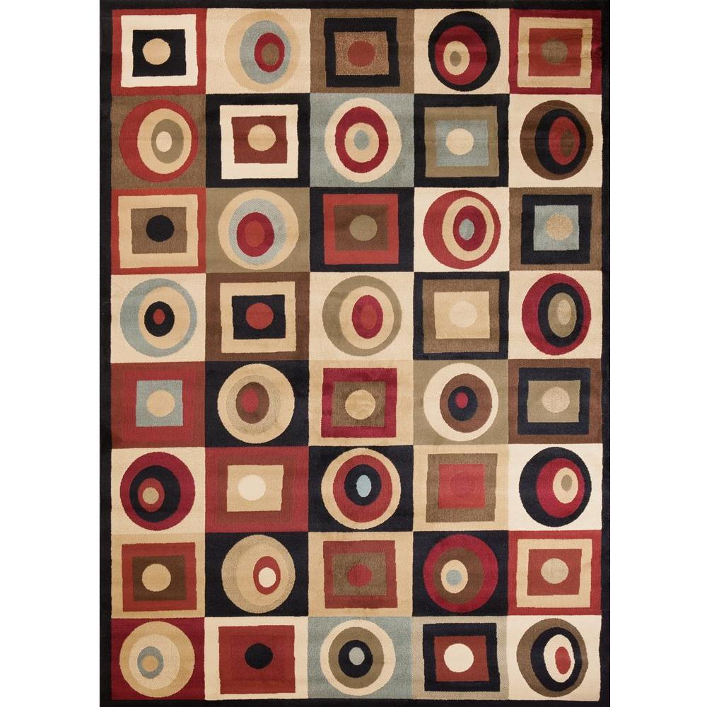 Concord Global Trading Soho Round & Squares Black 6 ft. 7 in. x 9 ft. 6 in. Area Rug