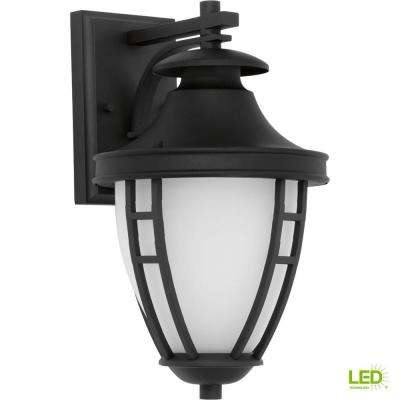 Fairview Collection 1-Light 14.2 in. Outdoor Textured Black LED Wall Lantern Sconce
