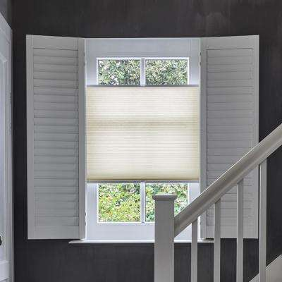 Cut-to-Width Beige Transparent Polyester Tensioned Pleated 1 in. Cellular Shade - 21.5 in. W x 72 in. L