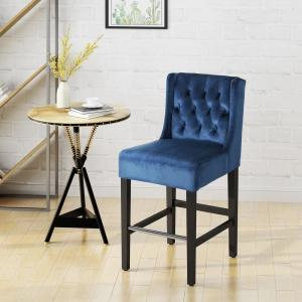 Admirable Noble House Leander Modern 26 In Tufted Back Cobalt Velvet Alphanode Cool Chair Designs And Ideas Alphanodeonline