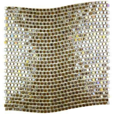 Galaxy Sun Gold Wavy Square Mosaic 0.3125 in. x 0.3125 in. Iridescent Glass Wall Tile (1 Sq. ft.)