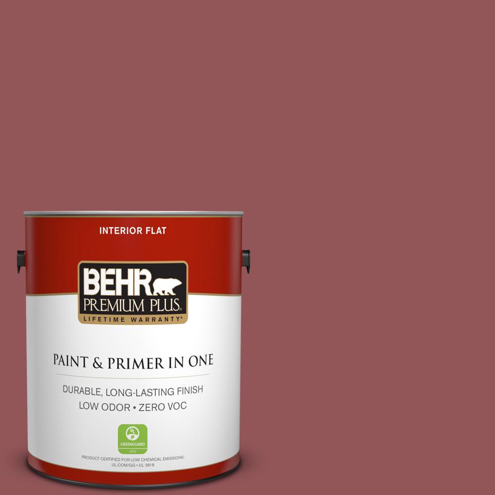 BEHR Premium Plus 1-gal. #150F-6 Gallery Red Zero VOC Flat Interior Paint