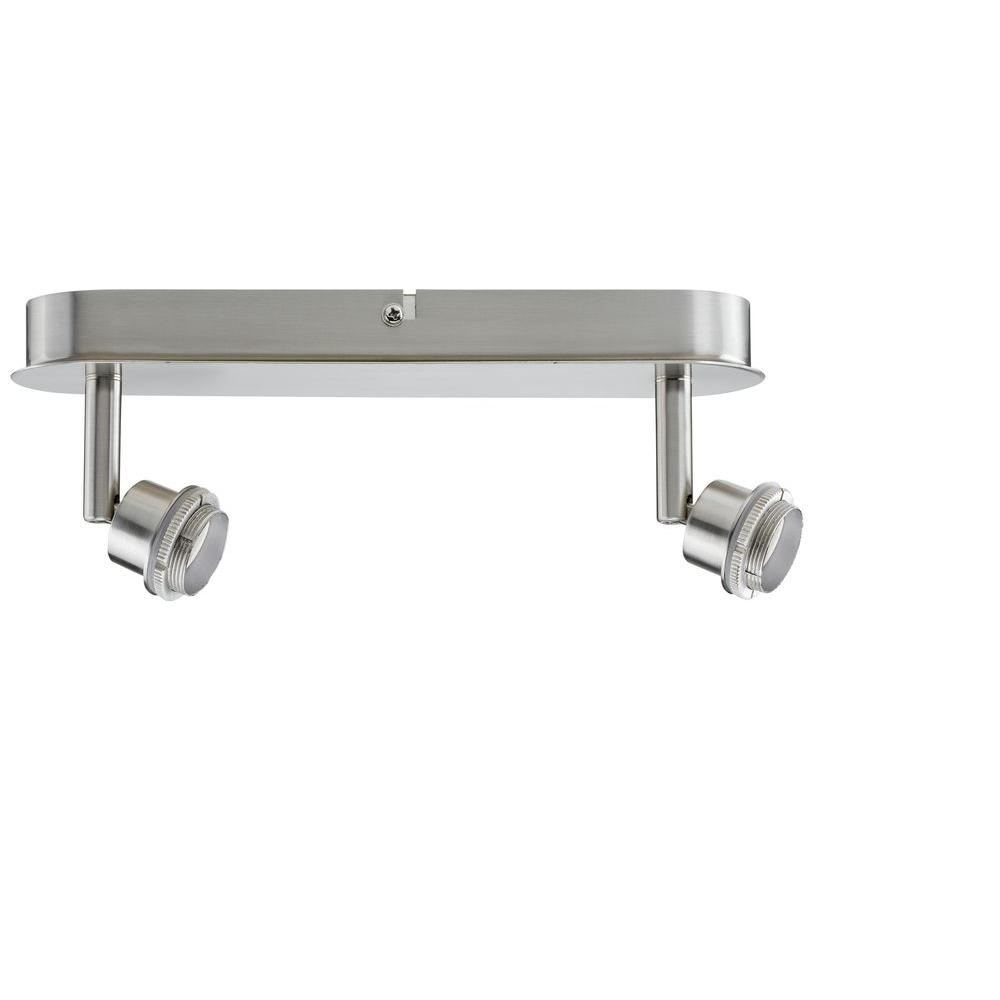 null Double Spotlight Brushed Nickel Track Lighting