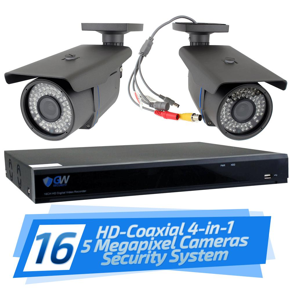 16-Channel HD-Coaxial Security System with 16x GW561HD 5-MP Cameras 3.3 mm
