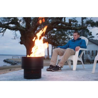 13.5 in. x 12.5 in. Round Metal Smokeless Wood Pellet Fire Pit in Black