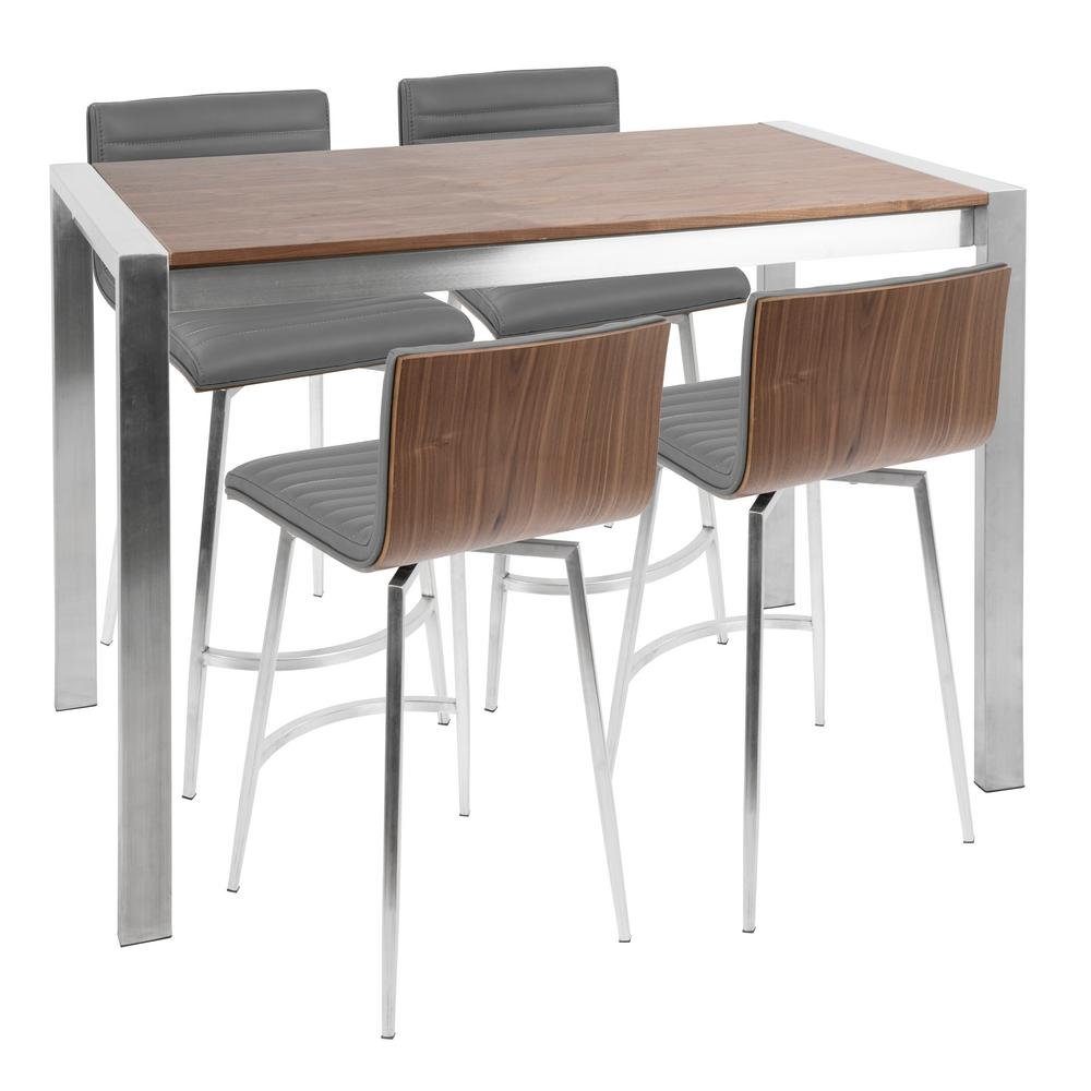 Lumisource Mason 5 Piece Walnut, Grey, And Stainless Steel Counter Height  Dining Set