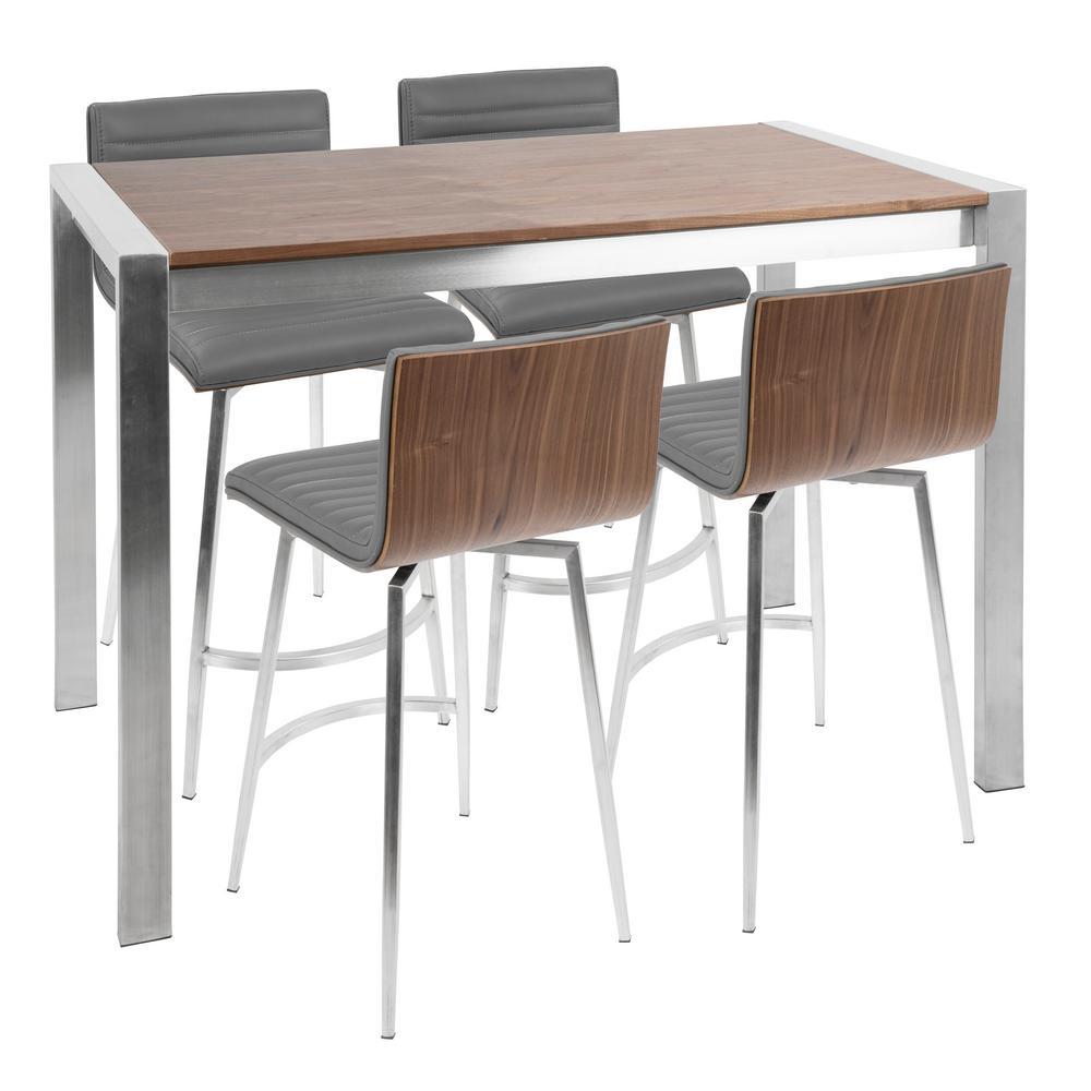 Lumisource Walnut Grey Stainless Steel Counter Height Set Grey Brown
