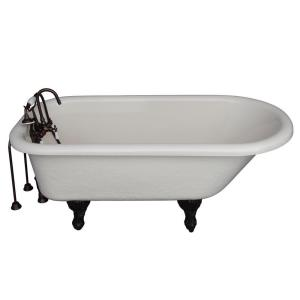 Barclay Products 5 ft. Acrylic Ball and Claw Feet Roll Top Tub in Bisque with Oil Rubbed Bronze Accessories by Barclay Products