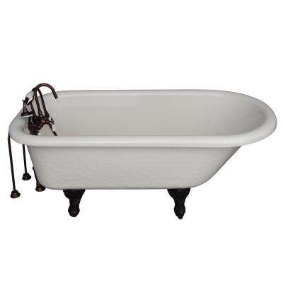 5 ft. Acrylic Ball and Claw Feet Roll Top Tub in Bisque with Oil Rubbed Bronze Accessories