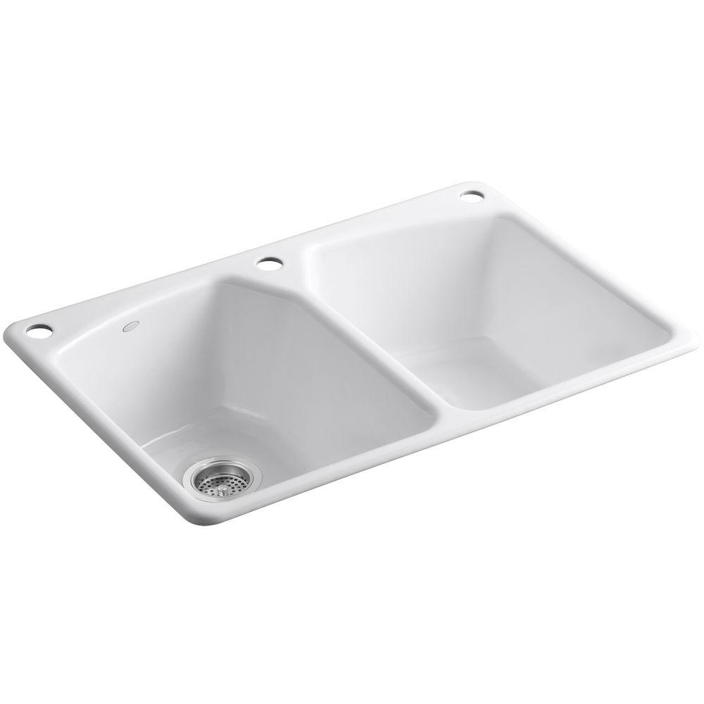 kohler double kitchen sink kohler tanager drop in cast iron 33 in 3 bowl 6682