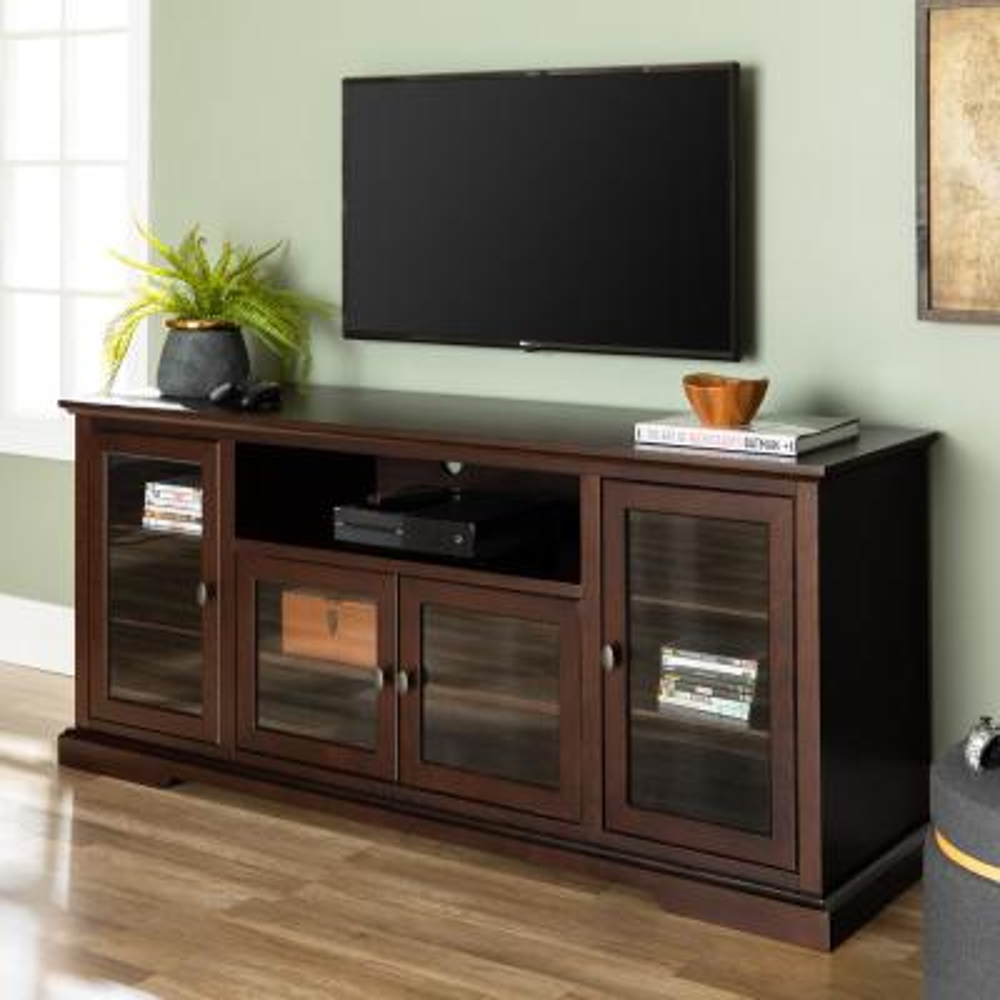 Highboy 70 in. Espresso Composite TV Stand 78 in. with Doors