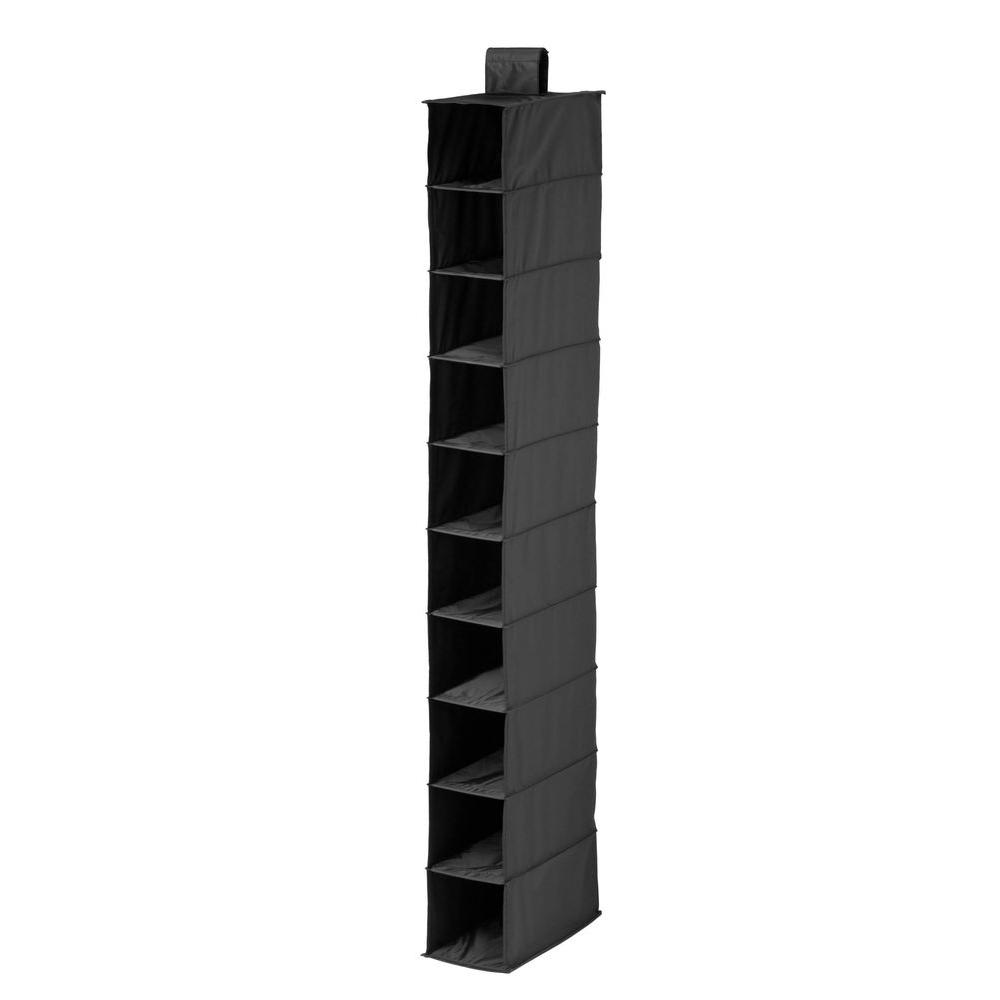 10-Shelf Polyester Hanging Shoe Organizer in Black