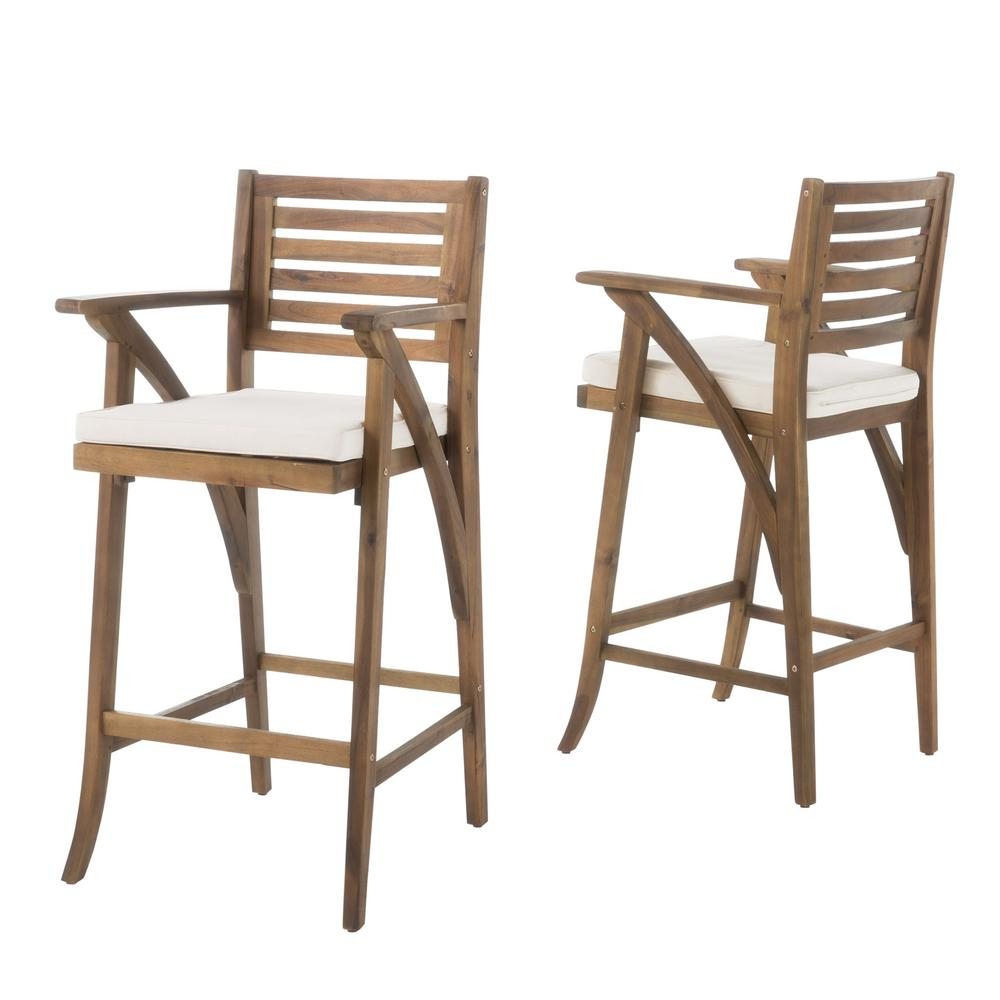 Le House Hermosa Wood Outdoor Bar Stool With Cream Cushion 2 Pack