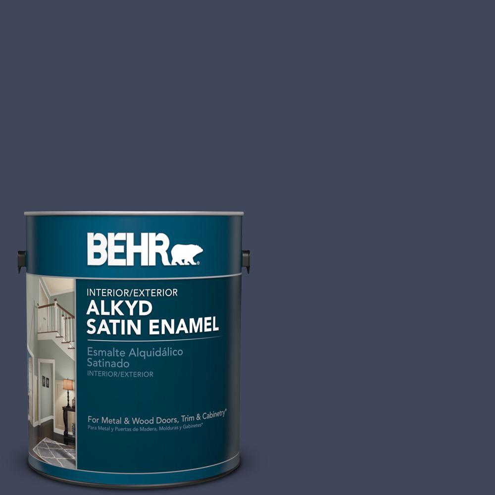 1 gal. #S530-7 Dark Navy Satin Enamel Alkyd Interior/Exterior Paint