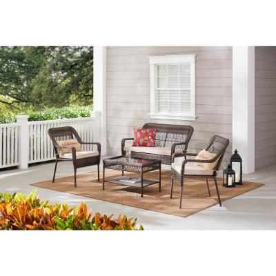 Mix and Match Outdoor Patio Loveseat with Putty Tan Cushions