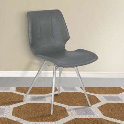 Zurich 32 in. Vintage Gray Faux Leather and Brushed Stainless Steel Finish Contemporary Dining Chair (Set of 2)