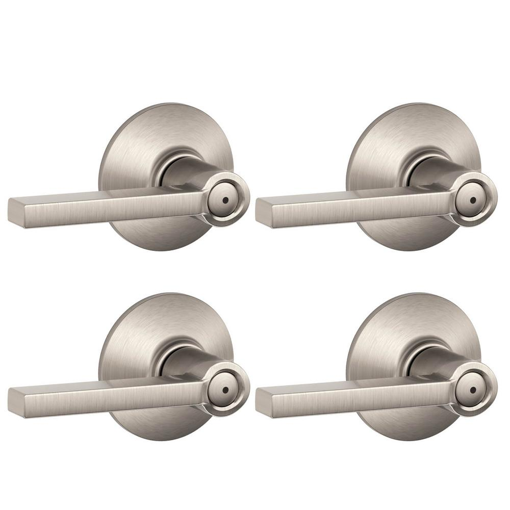 Gentil Schlage Latitude Satin Nickel Privacy Bed/Bath Door Lever (4 Pack)